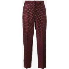 Dries Van Noten Dries Van Noten 'Pulley' Polka Dot Embroidered... (26.730 RUB) ❤ liked on Polyvore featuring pants, capris, red, red trousers, red pants, creased pants, purple pants and high-waisted pants