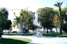 Renzo Piano has designed a building that CAN'T be seen from many angles – here you can see it hiding behind the trees and foliage of Pereda Gardens (Pic: Botin Centre Sept 2015)