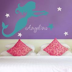Mermaid holding a Sea Shell - Personalized Monograms & Names - Wall Decals