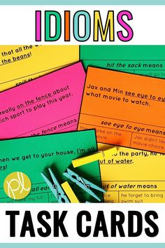 Hands-on activities for first and second graders working on idioms! There are task cards and centers for small groups and independent stations, plus idiom slides to display for the whole group. Printables are included - pages add to centers, early finishers, and extra practice, plus pages to create a class book of idioms! From Positively Learning #idioms #literacycenters
