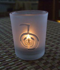 Frosted Reiki symbol glass candleholder