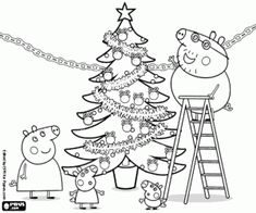 Christmas with Peppa Pig coloring page