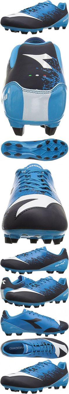 Diadora Men's Dd-Na 4 R Lpu Soccer Shoe, Dark Smoke/Fluo Blue, 8 M US