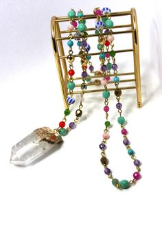 Sautoir sur chaîne perles multicolores COACHELLA : Collier par panthere-de-somalie Coachella, Beaded Necklace, Etsy, Vintage, Bracelets, Jewelry, Handmade Gifts, Unique Jewelry, Beads