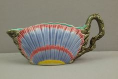 COPELAND majolica rare shell  form sauce boat with coral  handle, great color and detail