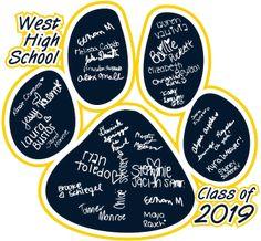 T-Shirt Design - Paw Names - Senior Class Names on T-shirts Senior Sweatshirts, Senior Class Shirts, Name Signature, West High School, 8th Grade Graduation, Sport Craft, Field Day, School Colors, School Spirit