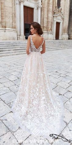 Beautiful Wedding Dresses Lace My new favorite wedding gown. I love the lace and the low v back. Very classy Wedding Dresses Lace My new favorite wedding gown. I love the lace and the low v back. Very classy Ivory Bridesmaid Dresses, Wedding Dresses 2018, Princess Wedding Dresses, Bridal Dresses, Modest Wedding, Backless Wedding, Blush Lace Wedding Dress, Trendy Wedding, Wedding Dress Low Back