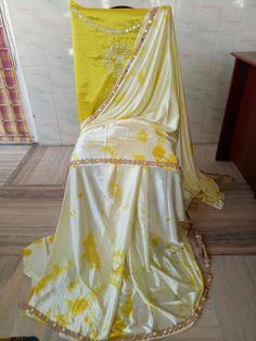 Satin shibouri sarees with blouse embroidery and mirror work lace Shibori Sarees, Mirror Work, Blouse Designs, Blouses, Satin, Embroidery, Lace, Fashion, Moda
