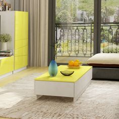 Get Your White Coffee Table With Yellow Top Now At Amonet. Shop Now White Coffee Table With Yellow Top Best Price Guaranteed Furniture, High Gloss Paint, Shopping, Table, Home Decor, Room Divider, White, Coffee Table, Yellow