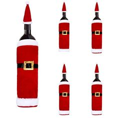 Yoyorule 5Pcsset Christmas Wine Bottle Set Santa Decoration Xmas Bottle Cap Xmas Decor * Check this awesome product by going to the link at the image.  This link participates in Amazon Service LLC Associates Program, a program designed to let participant earn advertising fees by advertising and linking to Amazon.com.