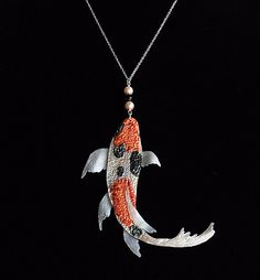 Koi pendant ooak hand sculpted iridescent orange pearl white koi koi pendant iridescent orange black white koi by thependantgarden 3000 aloadofball Image collections