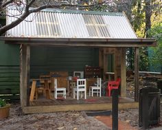 Sheltered out door playhouse, could adapt it & probably minimize it a bit.  Good for mud pie kitchen!