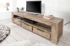 Massive Lowboard GIANT acacia teakgrau geklkt TV Board - Natural Atmosphere in your living room, The big, massive TV Board GIANT made of fine acacia wood is due to its teakgrau geklkte Obeacacia Teak, Acacia Wood, Home Theater, Home Office, Entryway Tables, Living Room, Interior Design, Furniture, Montreal