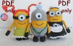 Cute little yellow monsters crocheted amigurumi PDF AKA: Minions! Minion Crochet, Crochet Patterns Amigurumi, Amigurumi Doll, Crochet Dolls, Crochet Crafts, Crochet Projects, Confection Au Crochet, Crochet Monsters, Crochet For Kids