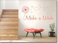 Aufkleber für die Wand mit Pusteblume und Spruch