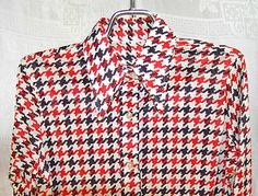 70s Mens Faux Houndstooth Check Big Collar Shirt by KickassStyle, $22.00