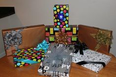 Birthday gift wrapping and bow ideas