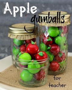 Apple Gumballs cute for back to school gift for teacher or kids...I may not be creative enough to add the apple stem and leaf but I could put the gum in a jar :)