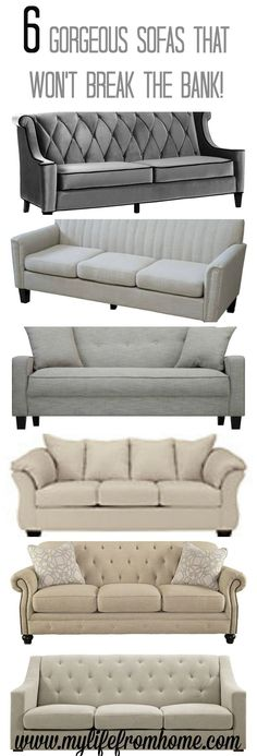 6 Gorgeous Sofas that are affordable yet stylish and chic.  Perfect for any space! | budget friendly | couches | farmhouse style | sofas | living spaces | family room | furniture | http://www.mylifefromhome.com