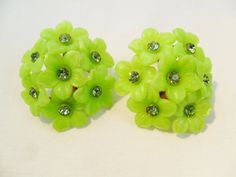 Vintage Green Lucite / Glass Rhinestone Flower by KathiJanes