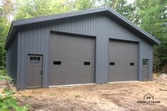 grey metal truss garage