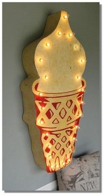 Ice Cream Cone Trade Sign Lighted Old Styl Vintage Metal Store Shop Tin Fun | eBay