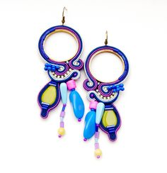 very long bright neon colors soutache big earrings violet navy blue china yellow pink multicolored