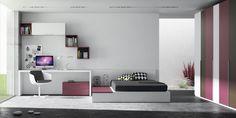 Habitación juvenil con cama canapé yarmario puertas batientes con combinación de coloresblanco, grisy lila