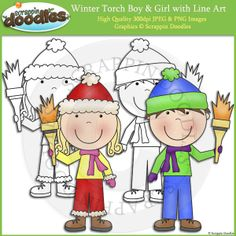 Winter Torch Boy & Girl Clip Art with Line Art; for Kindergarten Olympics