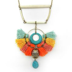 Colorful Bohemian Tassel Statement Necklace Tribal Ethnic