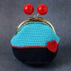 вязаный кошелек с фермуаром, вязаный кошелек на застежке с шариками, кошелек вязаный крючком, стильный вязаный кошелек с сердечком