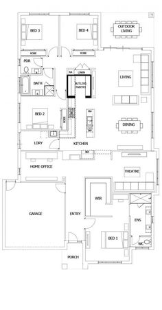 Boutique Homes- Barcelona 32 use bedroom as gym, add workshop? 4 Bedroom House Plans, Family House Plans, Best House Plans, Dream House Plans, House Floor Plans, Office Floor Plan, Kitchen Floor Plans, Home Design Floor Plans, Plan Design
