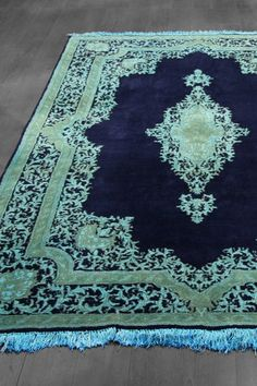 Over-Dyed Persian Kerman Wool Rug - Navy/Teal Blue - 5ft. 5in. x 8ft. 1in.  #1107-3690