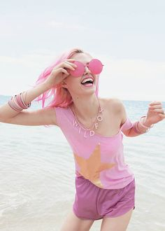pink on the beach!