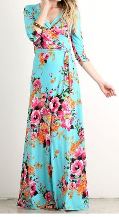 This three-quarter sleeved maxi dress is perfect for any season with its bright, adorable floral pattern.