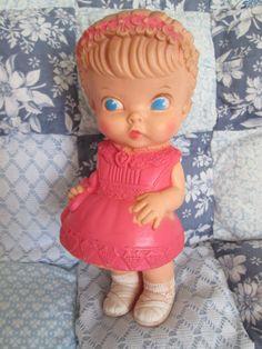 "Vintage 1958 7"" Edward Mobley Arrow Rubber Doll Pink Dress Cute!"