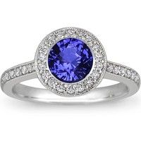 18K White Gold Sapphire Round Bezel Halo Diamond Ring with side stones, Sapphire Rings at Brilliant Earth