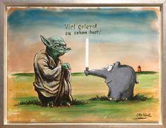Otto Waalkes Gemälde Viel Gelernt Du schon hast mit Yoda und Lichtschwert-Ottifant Star Wars Fan Art, Star Wars Film, Mayan Tattoos, K Om, Modern Pop Art, Marvel Wallpaper, Garden Statues, Whimsical Art, Under The Sea