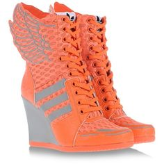 jeremy scott x adidas Nike High Heels, High Heel Sneakers, Sneaker Heels, Orange High Heels, Orange Shoes, Orange Sneakers, Orange Orange, Trendy Shoes, Cute Shoes