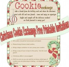 Christmas Cookie Exchange Invitations #christmaspartyideas Easy Christmas Cookie Recipes, Christmas Cookie Exchange, Holiday Cookies, Christmas Baking, Cookie Exchange Rules, Christmas Goodies, Christmas Crafts, Christmas Ideas, Christmas Events