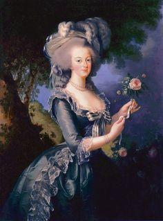 1783 Marie Antoinette holding a rose by Élisabeth-Louise Vigée-Lebrun (Versailles) | Grand Ladies | gogm