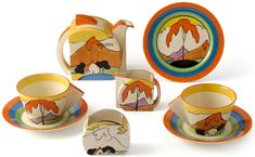 Clarice Cliff is perhaps the most famous name in British Art Deco ceramics, with her colourful designs being hotly sought after amongst collectors.  Here, we examine a Clarice Cliff 'Mountain' pattern 'Tea For Two' set.  The 'Mountain' pattern was produced for only a very short period of time from 1931-32, meaning very few examples were made.