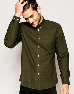 ASOS - Langärmliges Oxford-Hemd in Khaki - Grün auf Stylelounge.de