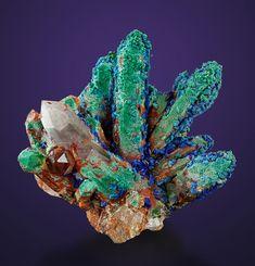 Azurite on Malachite on Quartz - Mecissi, Er Rachidia Province, Meknès-Tafilalet Region, Morocco