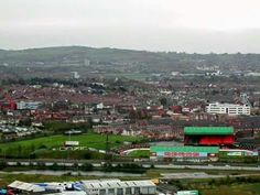 The Oval with East Belfast in the background