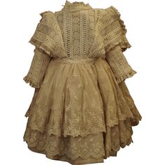 This dress is absolutely beautiful with fine exquisite detail through out. A fabulous reminder of the century doll dresses. Scary Baby Costume, Baby Costumes, Clothing Patterns, Sewing Patterns, Doll Costume, Antique Clothing, Mori Girl, Babydoll Dress, Apparel Design