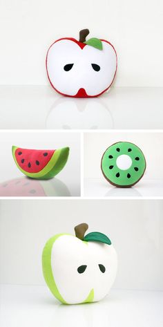DIY your Christmas gifts this year with GLAMULET. they are compatible with Pandora bracelets. Fruity pillows - Absolutely adorable and easy to make. Definately buying fabrics to make these. Cute Cushions, Cute Pillows, Diy Pillows, Decorative Pillows, Throw Pillows, Sewing Crafts, Sewing Projects, Softies, Plushies