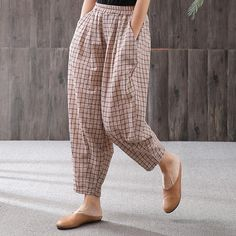 Babakud Summer Plaid Casual Loose Cotton Linen Elastic Waist PantsYou can find Fashion pants and more on our website. Linen Pants Women, Pants For Women, Clothes For Women, Kurta Designs Women, Salwar Designs, Loose Pants Outfit, Pants Style, Casual Pants, Salwar Pants