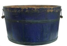 "Early 19th century wooden Wash Tub, with great blue paint, (indigo blue ) Notched staved construction with metal banding, measurement are: 12"" tall x 21"" diameter top x 18 1/2"" bottom"