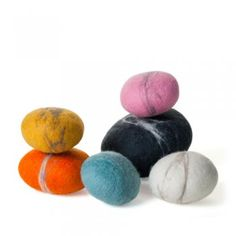 Felt Pebbles, crafted in Johannesburg by craftswomen in a job creation program. Featured on Branch: Sustainable Design for Living. Felt Crafts, Crafts To Make, Crafts For Kids, Felt Owls, Textile Fiber Art, Nursery Inspiration, Wool Felt, Felted Wool, Sustainable Design
